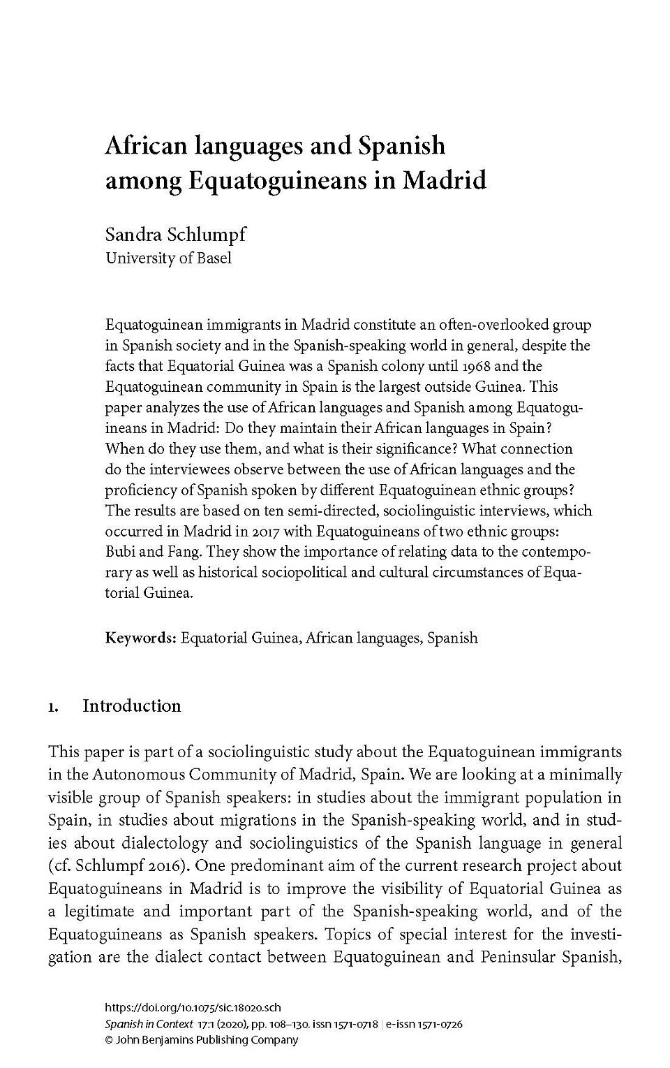 first page of article by sandra schlumpf