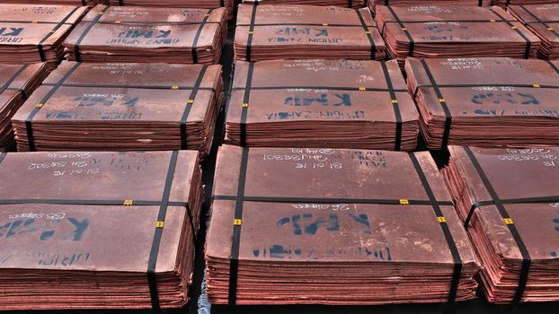 Copper cathodes at Kansanshi Mine, owned by First Quantum Minerals; Solwezi, Zambia (picture: A.-S. Hobi)